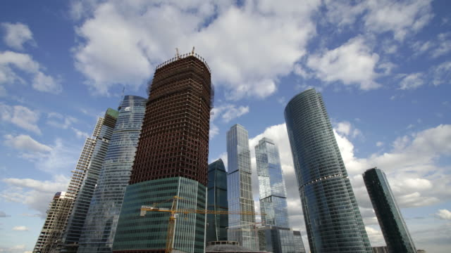 MS T/L View of City complex under construction / Moscow, Russia