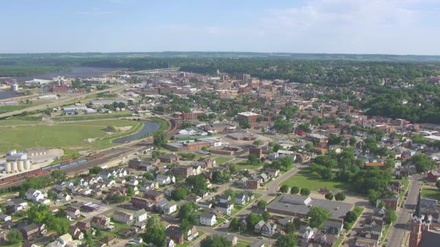 WS AERIAL POV View of city / Dubuque, Iowa, United States