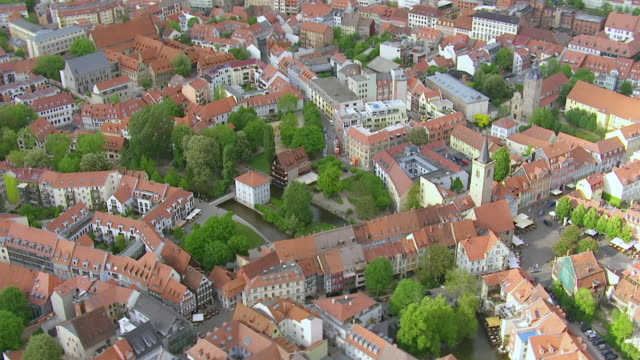 ws aerial view of city / erfurt, thuringia, germany - thuringia stock videos & royalty-free footage