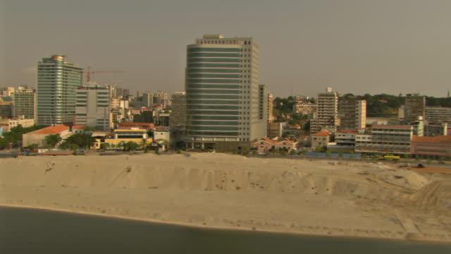 WS AERIAL View of city from Luanda bay (1) / Luanda, Angola