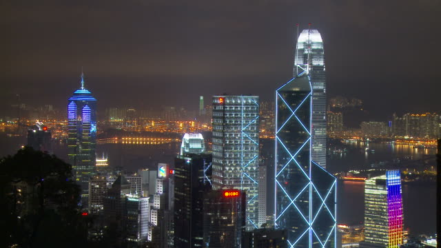 view of city from the peak at hong kong, china - central plaza hong kong stock videos & royalty-free footage