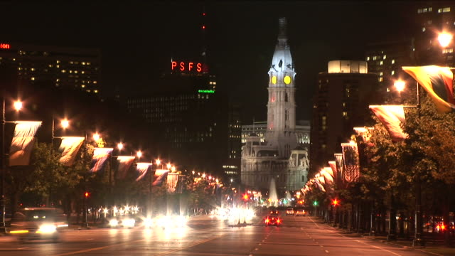 view of city hall at night in philadelphia united states - william penn stock videos and b-roll footage