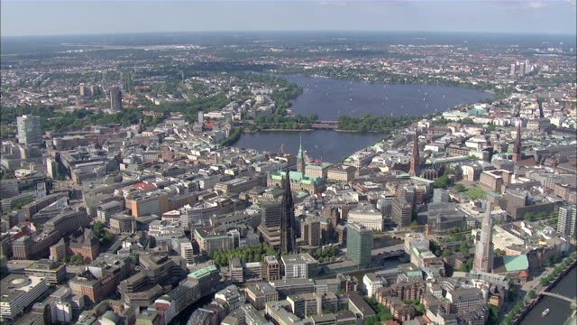 aerial ws pan view of city  / hamburg, hamburg, germany - hamburg germany stock videos & royalty-free footage