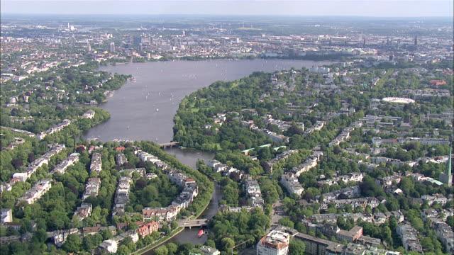 aerial ws view of city / hamburg, hamburg, germany - hamburg stock-videos und b-roll-filmmaterial