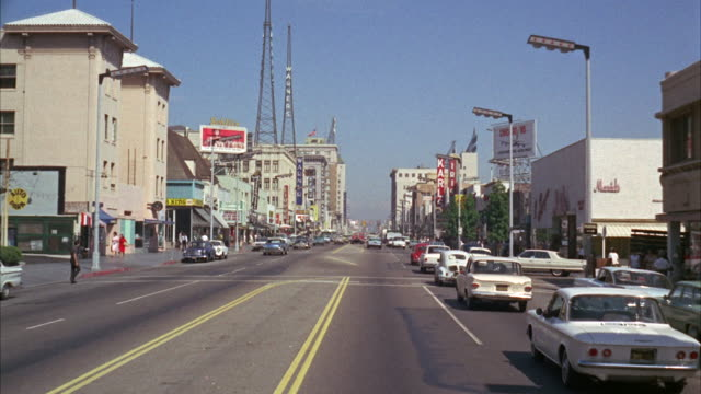 ms pov view of city / hollywood, california, united states - 1960 stock-videos und b-roll-filmmaterial