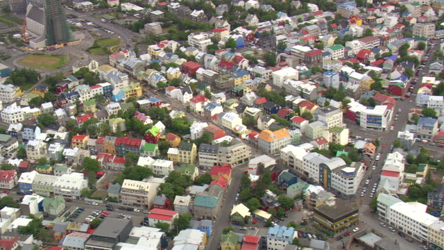ms aerial view of city laugavegur (main shopping area) of downtown reykjavì_k / iceland - reykjavik stock videos and b-roll footage