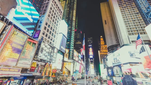 t/l ws la zi view of city lights at times square / manhattan, nyc - electronic billboard stock videos and b-roll footage