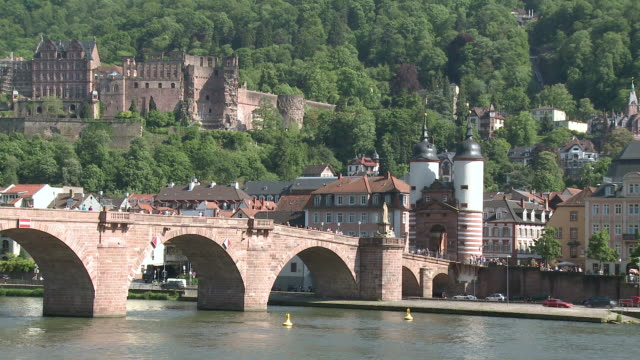 ms view of city located near castle / heidelberg, baden-wuerttemberg, germany  - heidelberg castle stock videos & royalty-free footage
