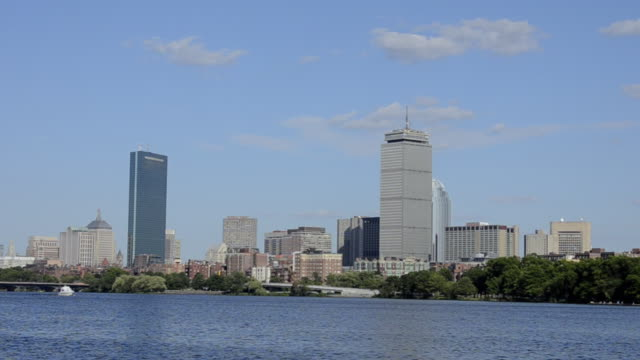 ws pan view of city located near river / boston, massachusetts, united states - fluss charles stock-videos und b-roll-filmmaterial