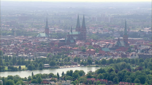aerial ws view of city / luebeck, schleswig-holstein, germany - lübeck stock-videos und b-roll-filmmaterial