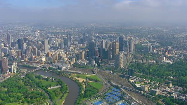 WS AERIAL ZI View of city / Melbourne, Victoria, Australia