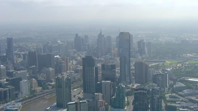 WS AERIAL View of city / Melbourne, Victoria, Australia