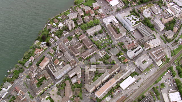 ws aerial view of city montreux / vaud, switzerland - montreux stock videos & royalty-free footage