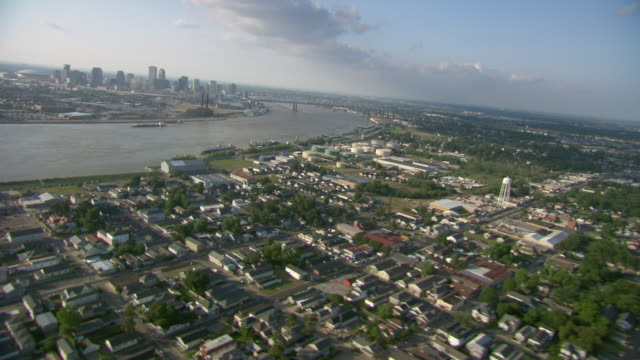AERIAL WS View of City near by mississippi river  / New Orleans, Louisiana, United States