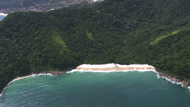 WS AERIAL View of city near coastline at Ilhabela / Sao Paulo, Brazil