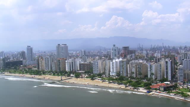 WS AERIAL View of city near coastline / Sao Paulo, Brazil