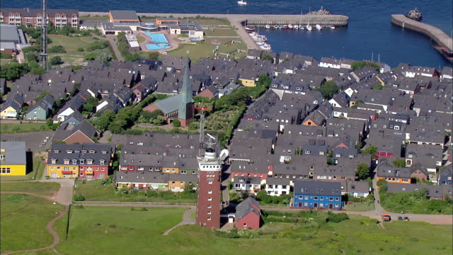 aerial ms view of city near ocean / heligoland, schleswig-holstein, germany - helgoland stock videos & royalty-free footage