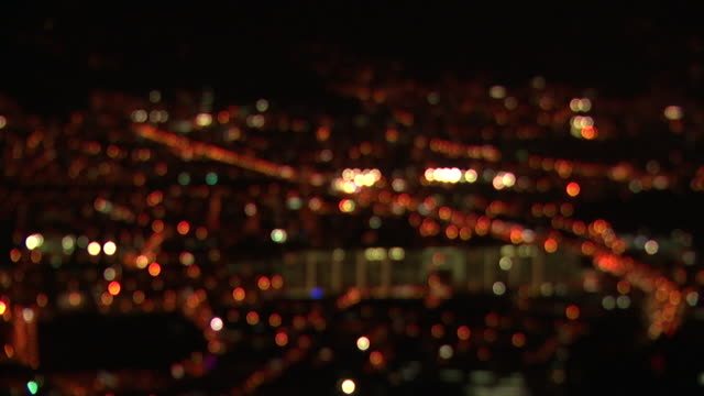 WS R/F View of city night lights / Medellin, Colombia