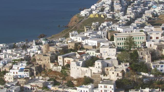 MS AERIAL View of city of naxos and coastline / Naxos, Cyclades, Greece