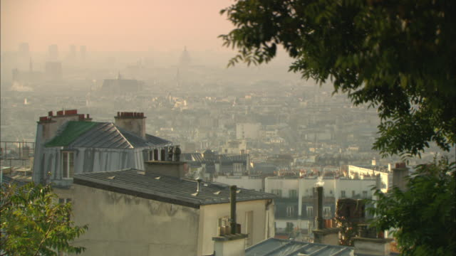 WS View of city of Paris with thick with haze and smog / France