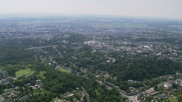 ws areal zi view of city orbit / luxembourg - luxembourg benelux stock videos & royalty-free footage