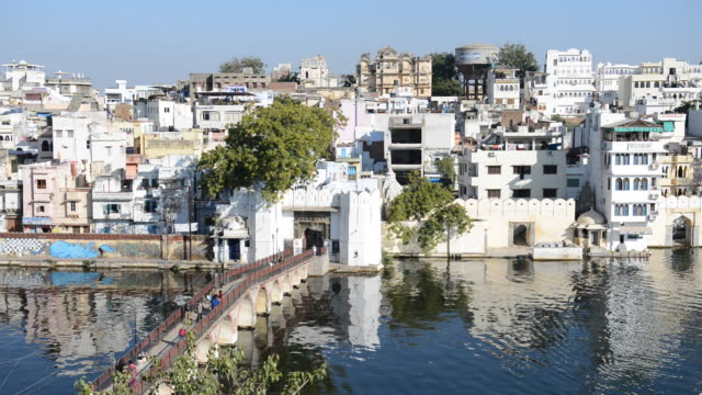 WS View of City Palace and Lake Pichola / Udaipur, Utter Pradesh, India