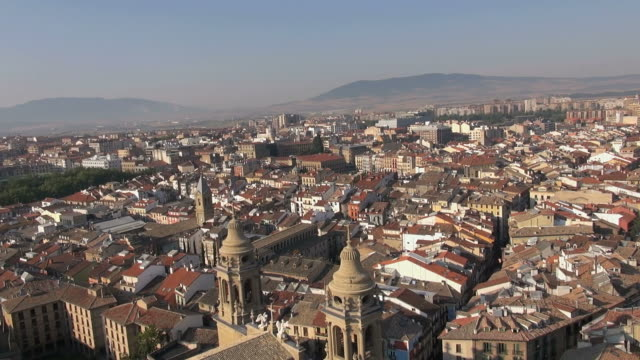 ws aerial view of city / pamplona, united states - comunidad foral de navarra stock videos and b-roll footage