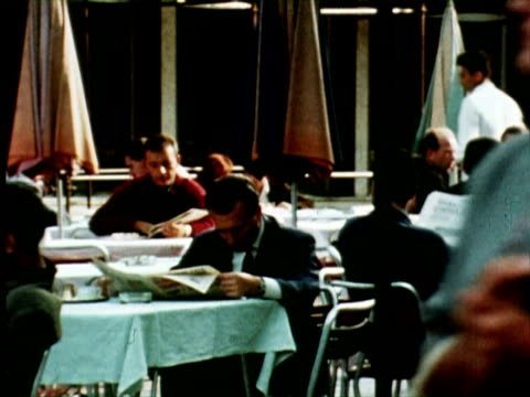 WS PAN View of city people, Belgrade, Yugoslavia / AUDIO