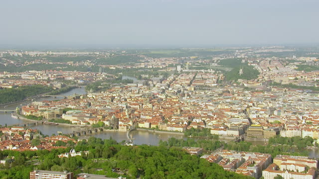 ws aerial view of city / prague, czech republic - prague stock videos & royalty-free footage