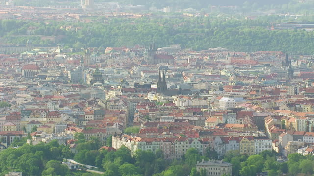 WS AERIAL View of city / Prague, Czech Republic