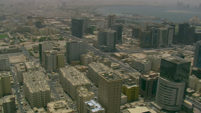 vidéos et rushes de ws aerial view of city / qatar - qatar