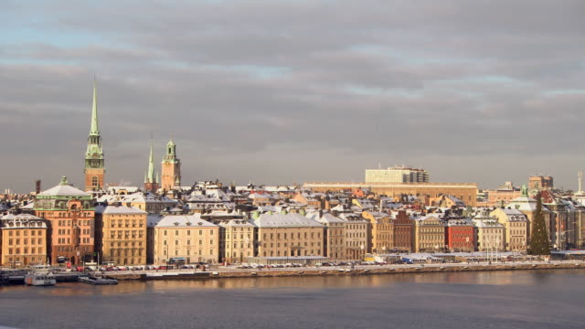 ws view of city roof covered with snow / stockholm, fennoscandia, sweden - stockholm stock videos & royalty-free footage