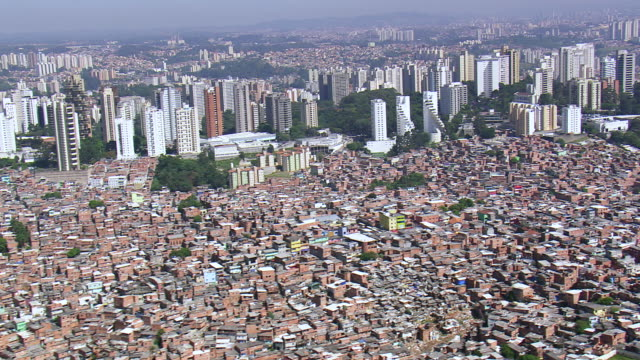 ws aerial view of city / sao paulo, brazil - são paulo state stock videos & royalty-free footage