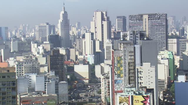 ws aerial view of city / sao paulo, brazil - são paulo stock videos and b-roll footage