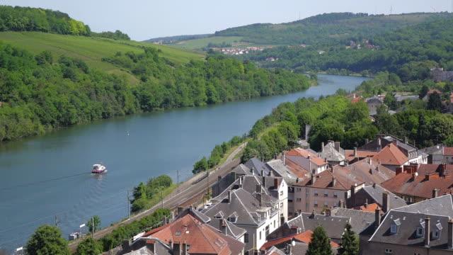 ws view of city / sierck les bains, lorraine, france - lorraine stock videos & royalty-free footage