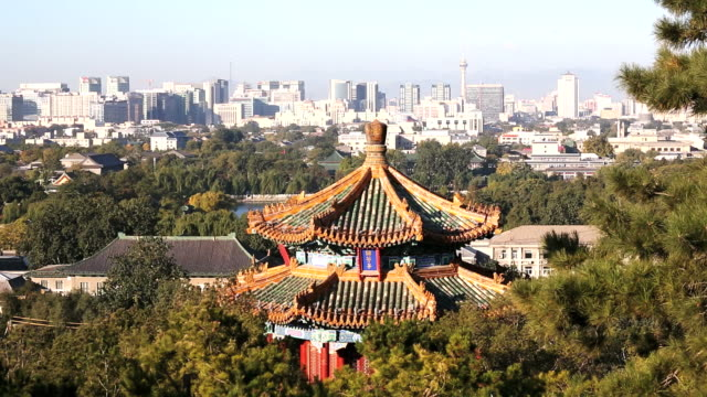 WS View of City Skyline and Pagoda / Beijing, Hebei Province, China