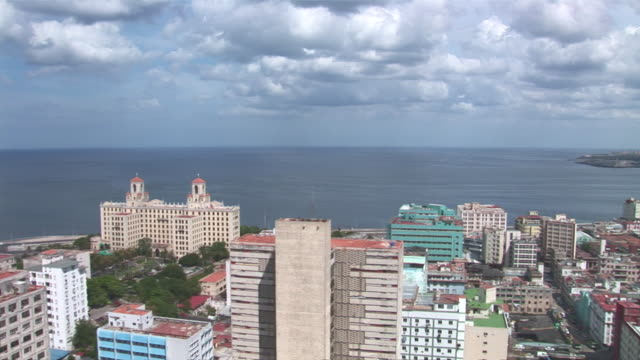 ws view of city skyline / havana city, havana, cuba - hotel nacional stock videos and b-roll footage