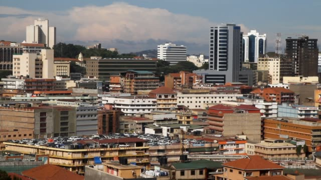 view of city skyline of kampala skyscrapers and other buildings - kampala stock videos & royalty-free footage