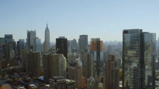 WS PAN AERIAL View of city skyscrapers / New York City