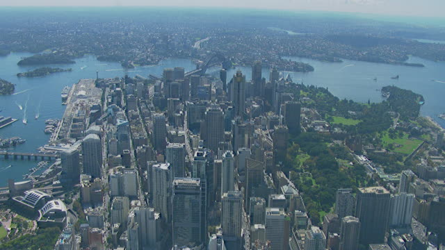 ws aerial zi view of city / sydney, new south wales, australia - moving towards stock videos & royalty-free footage