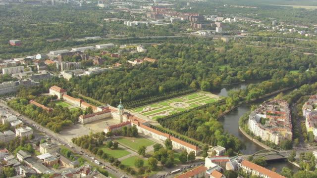 ws aerial zi view of city to charlottenburg palace / berlin, germany - charlottenburg palace stock videos & royalty-free footage