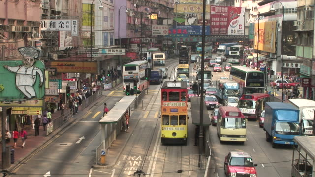 view of city traffic in hong kong china - median nerve stock videos & royalty-free footage