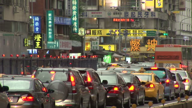 view of city traffic in taipei taiwan - taipei stock videos & royalty-free footage