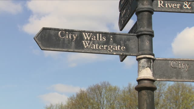 view of city walls-watergate sign in chester - weathered stock videos & royalty-free footage
