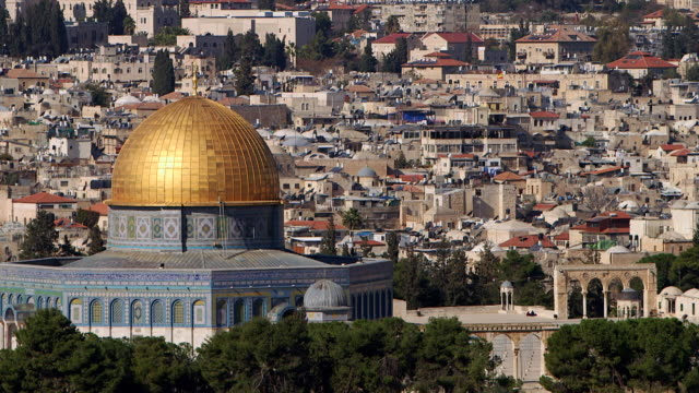 ws pan view of city with dome of the rock / jerusalem, east jerusalem, israel - jerusalem stock videos & royalty-free footage