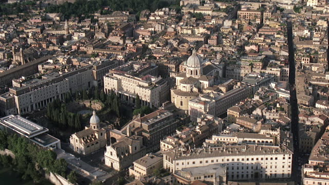 ws aerial view of city with saint peters basilica / rome, italy - state of the vatican city stock videos and b-roll footage