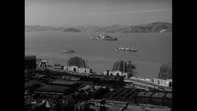ws view of city with ships moving in background / united states - passagierschiff stock-videos und b-roll-filmmaterial