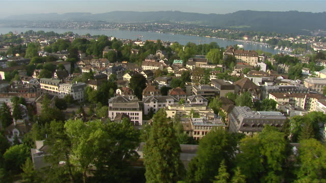 WS AERIAL View of city with University and Swiss Federal Institute of Technology / Zurich city, Zurich, Switzerland