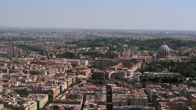 WS AERIAL View of city with Vatican and St Peters church / Rome, Italy