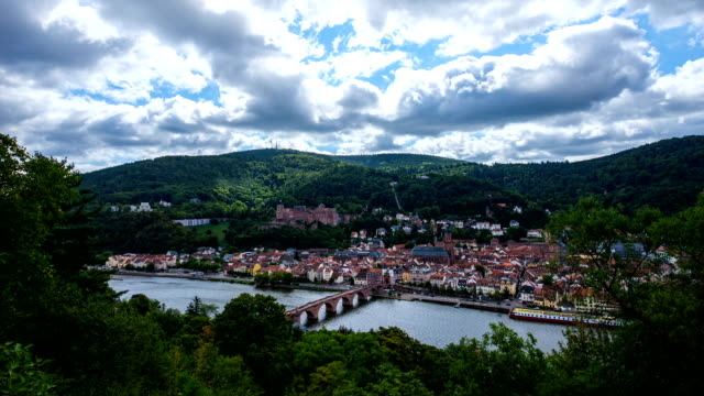 view of cityscape around heidelberg castle and alte brucke bridge on neckar river - heidelberg castle stock videos & royalty-free footage